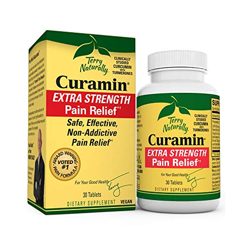 Terry Naturally Curamin Extra Strength - 30 Vegan Tablets - Non-Addictive Pain Relief Supplement with Curcumin from Turmeric, Boswellia & DLPA - Non-GMO, Gluten-Free - 10 Servings
