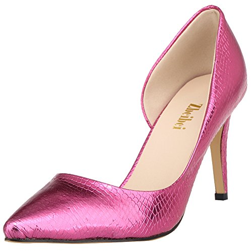 fereshte Women's Classic High Heels Pointed Toe PU Crocodile Design Stiletto Pumps Snake Rose Red