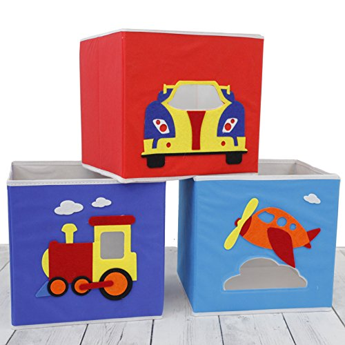 Paylak SCR641 Kids Storage Organizer Bins Fabric Set of 3 Train Plane Car
