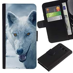 Paccase / Billetera de Cuero Caso del tirón Titular de la tarjeta Carcasa Funda para - Wolf Arctic Winter Furry Canine Beast - Samsung Galaxy S3 III I9300