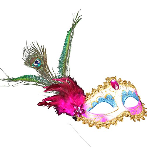 Sound of blossoming Peacock Feather Beads Mask Gold Shining Masquerade Mardi Gras Costume Accessory SMJ020 ()
