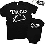 Daft Baby Taco & Taquito Dad & Baby Matching Clothing Shirt & Onesie Set Black (18 Months & Large)
