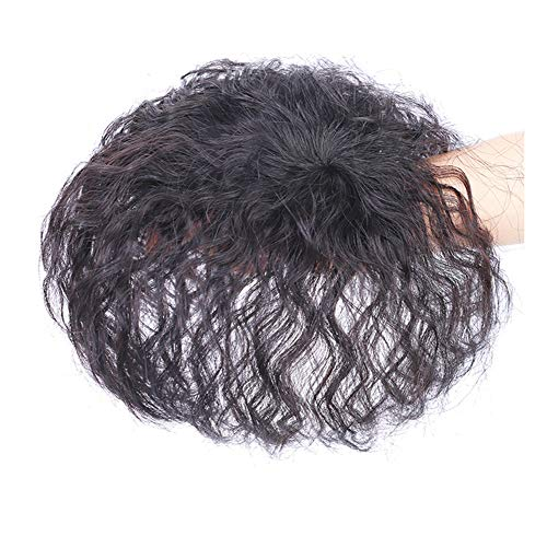 Yanamy Human Hair Clips in Toppers Curly Crown Hairpieces Topper for Women with Bald Spot, Natural Black (6 x 9cm Crown -