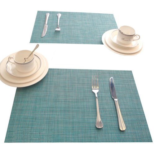 Ayygift Washable Blue Vinyl Woven Placemats for Kitchen Table Dinner Mats Anti-skid and Heat Insulation,set of 4