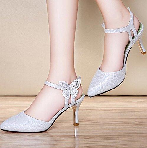 KHSKX-7Cm Blanco Zapatos De Mujer Primavera Y Verano Tacones Altos Con Zapatos Gruesos High-Heeled Taiwán Impermeable Sandalias De Moda Femenina Y 40 36
