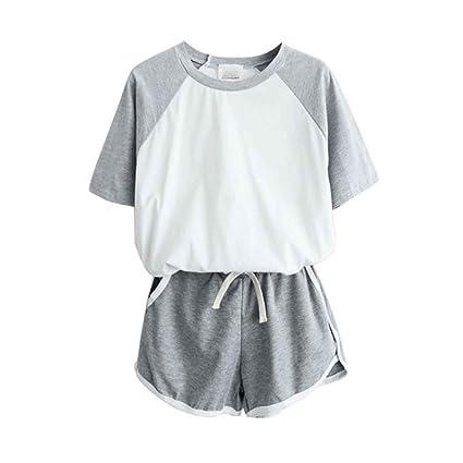 de4492b33bb Women Cartoon Pattern Shorts Sleeve Round Neck Top Sports Set Gym T-shirt  Short Set