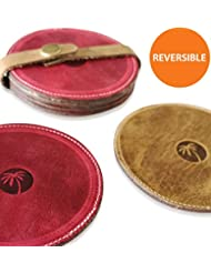 6 Premium Reversible Coasters for Drinks - Elegant Coaster Drink Set for Cup, Beer, Glasses or Coffee - Luxury Designer Genuine Leather Costers - Best for Housewarming Gifts and Table Accessories Sets