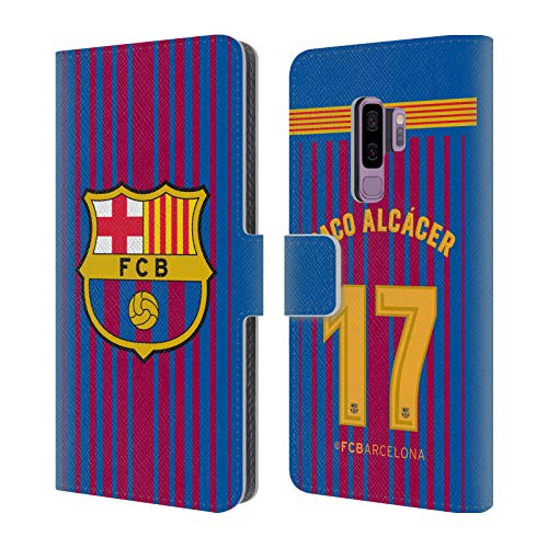 Official FC Barcelona Paco Alcácer 2017/18 Players Home Kit Group 1 Leather Book Wallet Case Cover for Samsung Galaxy S9+ / S9 Plus