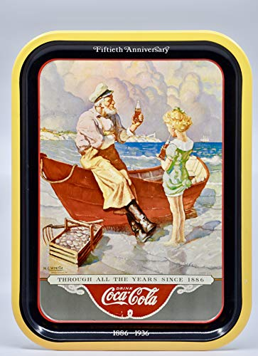 1987 - Coca-Cola Company - Coke Brand Tray - Sea Captain / 50th Anniversary/Art by N.C. Wyeth - 14 x 10.5 Inch - Collectible