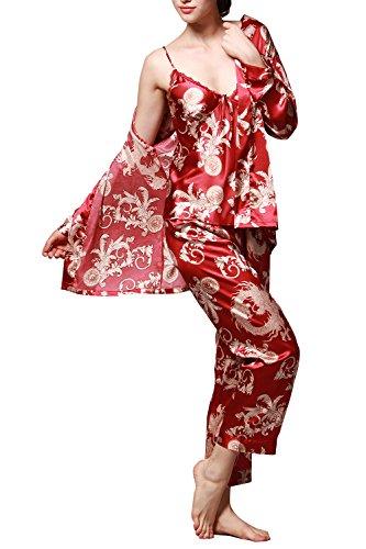 Dolamen Pijamas para mujer, Pijamas Mujer invierno, 3-in-1 Mujer camisones, Satén suave y cálido Manga larga y pantalones largos, Mujer largo Camisones raso Satin Pijamas Rojo