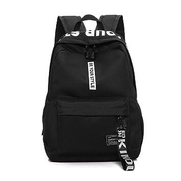 Nylon Negro Mujeres Mochilas Escolares para niñas Adolescentes Mochila Mujer Adolescentes Hombres Mochila de Estilo Informal Bookbag-Negro: Amazon.es: ...