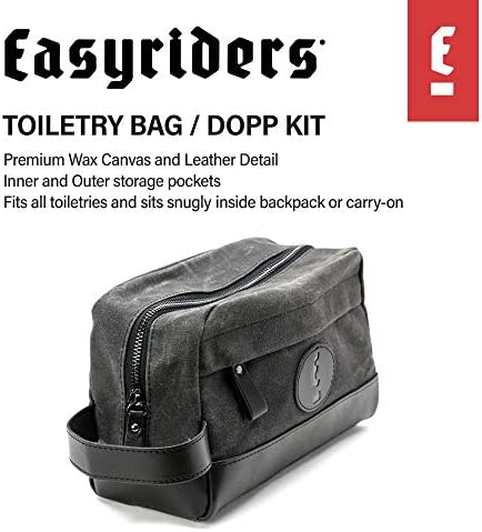 Easyriders Black Leather and Wax Canvas Toiletry Bag for Men (Limited Edition)