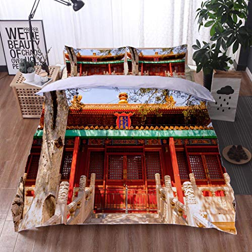 bed comforter - 3-piece duvet -All Season , Garden of the Forbidden City Palace Museum Imperial Palaces of the Ming and ,HypoallergenicDuvet-MachineWashable -Twin-Full-Queen-King-Home-Hotel -school