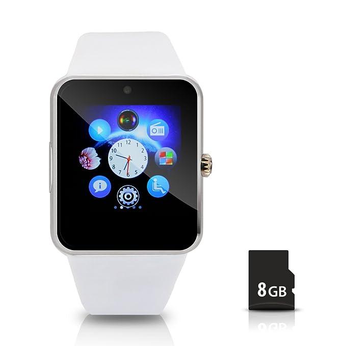 Hiwatch Reloj Inteligente Smartwatch Bluetooth Android M¨®vil Reloj con 8GB Micro SD Tarjeta, Blanco(No incluido SIM Tarjeta)