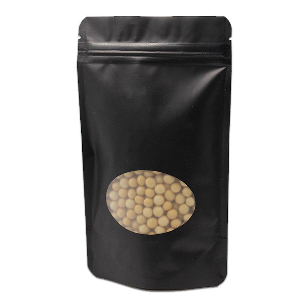 """16x23cm (6.3""""x9.1"""") 200 Stück Schwarz Klar Farbe Mattglasbirne Rein Alufolie Taschen Mit Rund Fenster Reißverschluss Taschen Kunststoff Pure Mylar Lebensmittel Lagerung Ziplock Verpacken Tüten"""