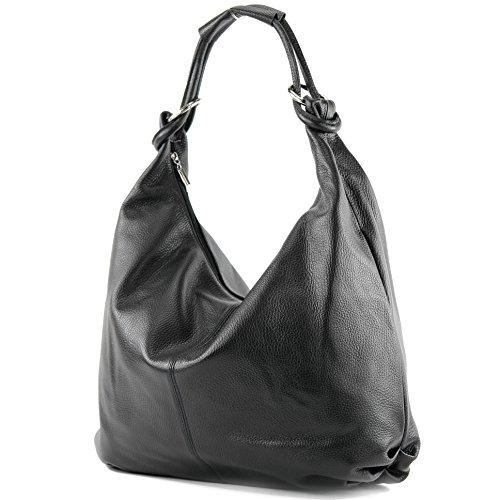 Sac italien femme sac à main sac en cuir sac besace en cuir de cabas 337 Schwarz