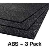 "ABS Black Plastic Sheet 3-Pack 12"" X 24"" X 0.0625"" (1/16"") 3 Pack, Black Haircell, for VEX Robotics Teams, Hobby, DIY, Industrial. Easy to Cut, Bend, Mold."