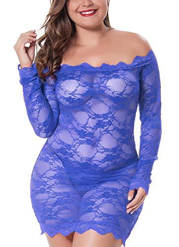 LINGERLOVE Womens Regular and Plus Size Chemise Floral Lace Off Shoulder See Through Bodysuit Lingerie (Blue, 3XL-4XL) -