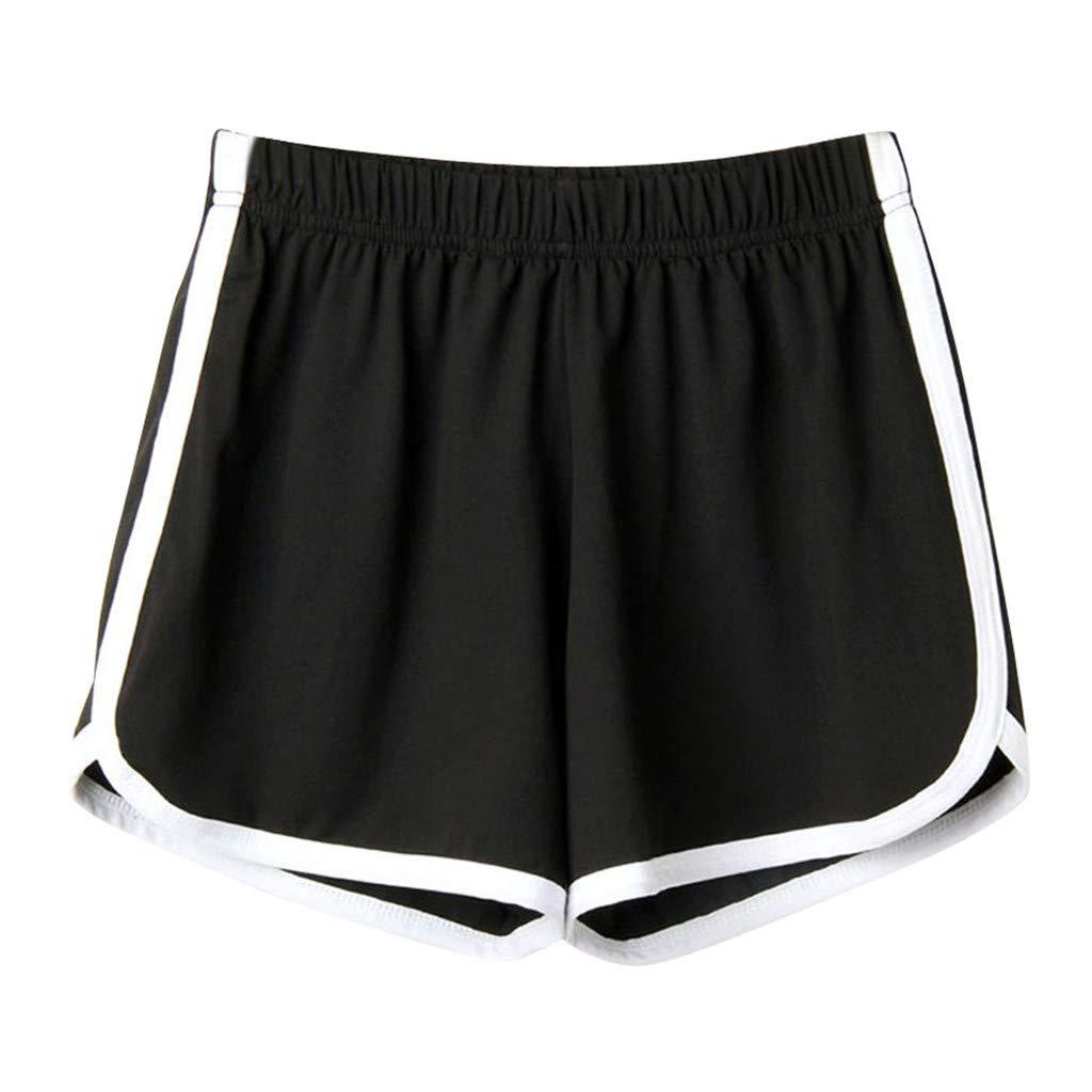 BAOHOKE Casual Loose High Waisted Athletic Shorts for Women,Elastic Band Summer Pocket Wide Leg Hot Pants(Black,L)