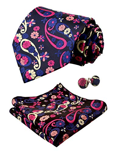 Alizeal Mens Handmade Floral Tie, Hanky and Cufflinks Set, Black+Magenta+Yellow