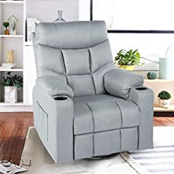 Living Room Esright Grey Fabric Massage Recliner Chair 360 Degrees Swivel Heated Ergonomic Lounge Chair