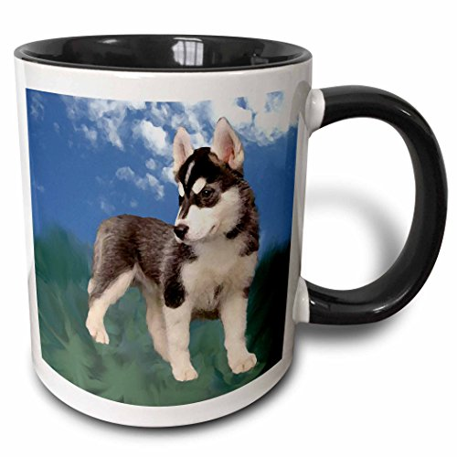 - 3dRose 4439_4 Siberian Husky Puppy - Two Tone Black Mug, 11 oz, Multicolor