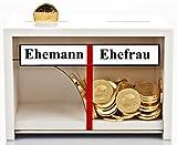 Geschenke 24: Spardose Hochzeit mit Gravur auf der Rückseite weiß Holz   Geldgeschenk zur Hochzeit ==> Geld rutscht immer nur zur Ehefrau