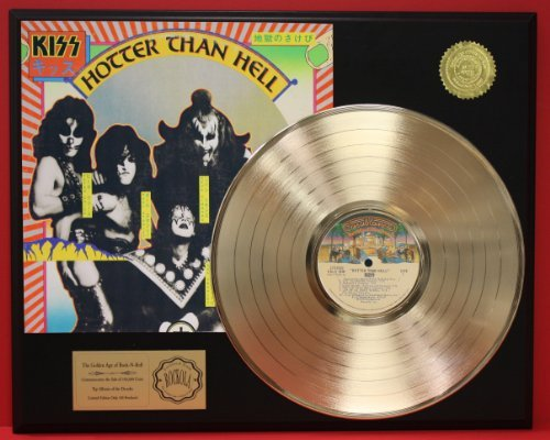 Kiss'Hotter Than Hell' 24Kt Gold LP Record LTD Edition Display Gold Record Outlet