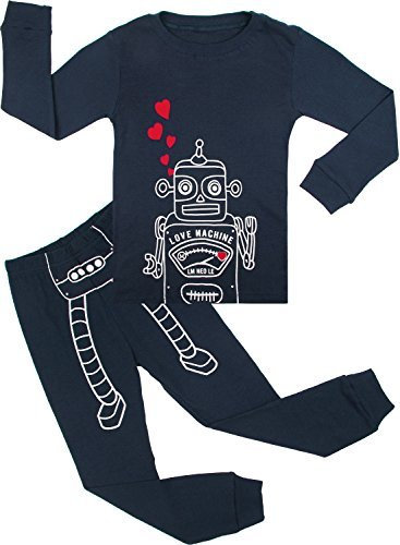 BOOPH Boys Pajamas 2 Piece Machine Long Sleeve Pajama Set 100% Cotton Sleepwear Size 2T-7T (4T) Navy