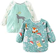 Baby Bib Long Sleeved Waterproof with Pocket Bundle and Crumb Catcher Stain Odor Resistance Smock Apron 2Pack