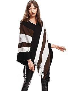 1ae84a7412b7 JLTPH Femme Chic Poncho Rayée Lâche Châle avec Franges Pull Tricote Echarpe  Manteau Automne Hiver