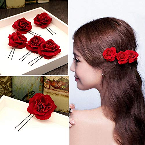 (Kisslife Elegant Red Rose Bridal Hair Clips 6 Pack Hair Pins Wedding Women and Girls Hair Accessories Bridesmaids Headpiece Wedding Hairpin)