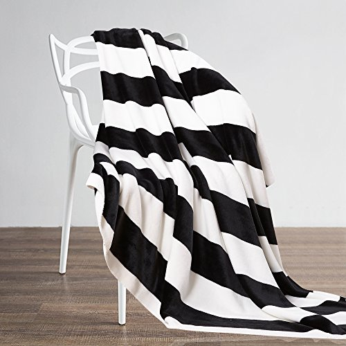 NTBAY Flannel Full/Queen Blankets Super Soft with Black and White Stripe (90