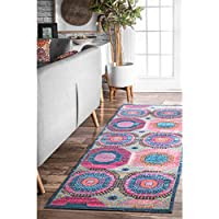 nuLOOM Multicolor Faded Medallion Marva Runner, 2 Feet 8 Inches by 8 Feet