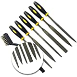 """Needle Files Set 7PCS Enlarged 7"""" x 5mm High Carbon Steel Hand Metal Tools, Includes Flat File, Half Round File, Flat Warding, Square, Triangular, Round and Wire Brush"""