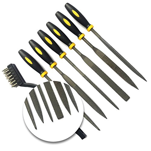 Needle Files Set 7PCS Enlarged 7 x 5mm High Carbon Steel Hand Metal Tools, Includes Flat File, Half Round File, Flat Warding, Square, Triangular, Round and Wire Brush