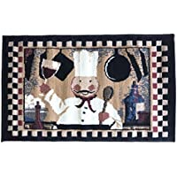 Manhattan Chef Cooking Wine Glasses Accent Floor Mat Berber Rug Kitchen 22 by 36