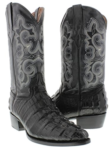 Team West - Men's Black Crocodile Tail Leather Cowboy Boots J Toe 12 E US
