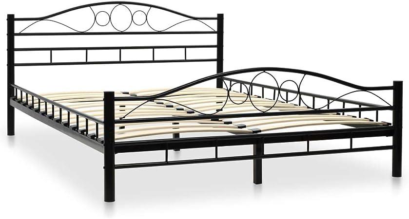 vidaXL Estructura de Cama de Metal y Somier 140x200 cm Diseño Curvado Colchón
