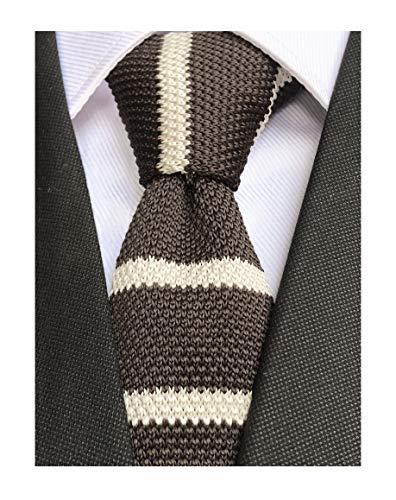 Men's Big Boys Preppy Wide Briton Stripe Dark Brown Knitted Tie White Novelty Necktie with Flat Bottom
