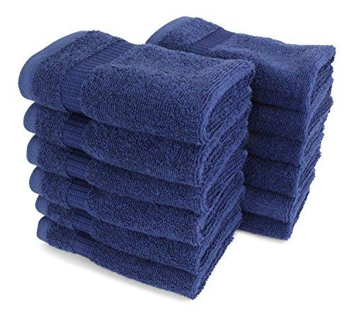 SALBAKOS Luxury Hotel & Spa Turkish Cotton 12-Piece Eco-Friendly Washcloth Set for Bath, 13 x 13 Inch, Navy