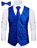 Cyparissus 3pc Paisley Vest for Men with Neck Tie and Bow Tie Set for Suit Tuxedo (XL, Royal Blue)