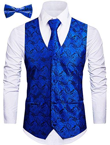 WANNEW Mens Vest Suit Vests Tuxedo Vest Formal Vests Paisley Vest for Men (M, Blue ()