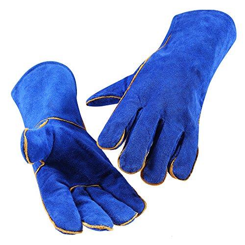 Dekopro Welding Gloves Heat Resistant Lined Leather Blue
