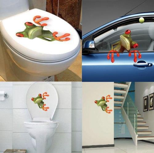 Sedeta 3D Stereo Cute Frog Funny Car Toilet Wall Sticker Removable Waterproof Decal Vinyl Art Home Bedroom Bathro Removable Waterproof Decal Vinyl Art Home Bedroom Bathroom Decor High Quality