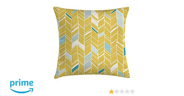 Ambesonne Yellow Chevron Throw Pillow Cushion Cover, Herringbone Pattern Zig Zag Lines in Hand Drawn Doodle Art Style, Decorative Square Accent Pillow ...