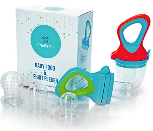 Fresh Baby Food Feeder Pacifier (2-Pack)- Includes 3 Different Silicone Sac Sizes | Baby Fruit Feeder Pacifier | Infant Silicone Teether Feeder Toys | Mesh Feeder | Fresh Food Feeding Nipple, Soother from CradleMii