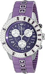 Christian Dior Unisex CD11431JR001 Christal Chronograph Diamond Purple Dial Watch