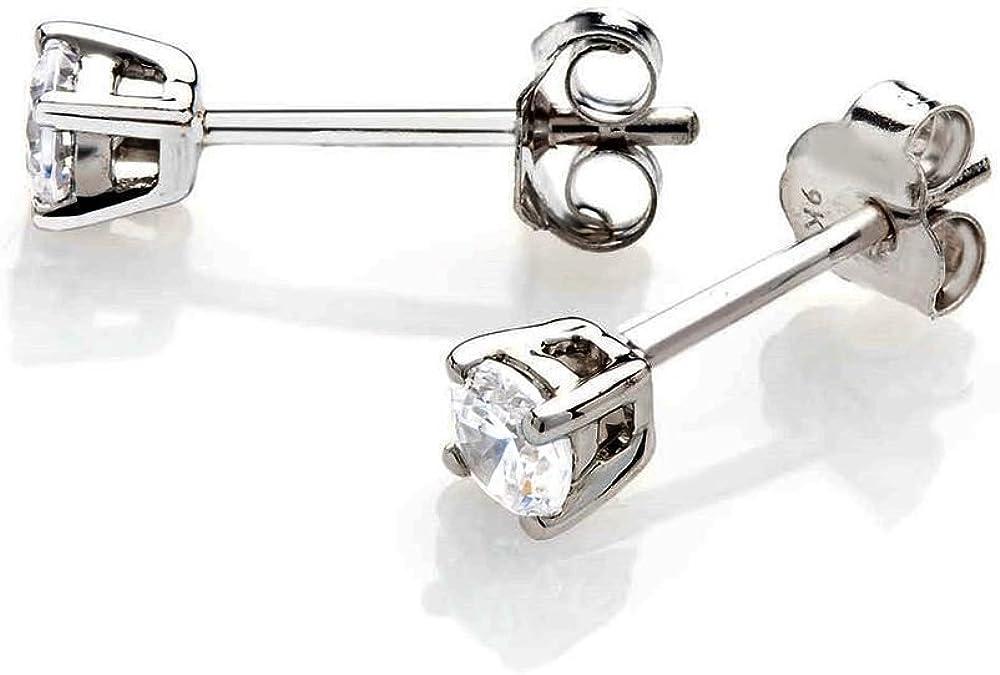 Pendientes de diamante para mujer, oro blanco de 14 quilates con diamantes naturales de 0,25 quilates