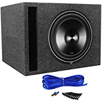 Package: Rockford Fosgate Punch P3D4-12 12 Dual 4 Ohm Car Subwoofer + Rockville RSV12 Single 12 Vented Subwoofer Enclosure + Sub Box Wire Kit With 14 Gauge Speaker Wire + Screws + Spade Terminals
